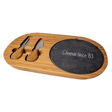 3 Piece Personalized Bamboo and Slate Cheese Board Set