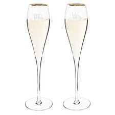 Mr. & Mrs. Gatsby Champagne Flute Glass (Set of 2)