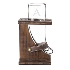Personalized 16 Oz. Glass Viking Beer Horn with Stand