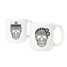 His and Hers Sugar Skull Large 2 Piece Coffee Mug Set
