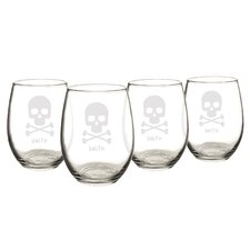 Personalized Skull and Crossbones 21 Oz. Stemless Wine Glasses (Set of 4)