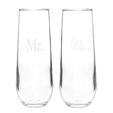 Mr. and Mrs. Stemless Toasting Flute Set (Set of 2)