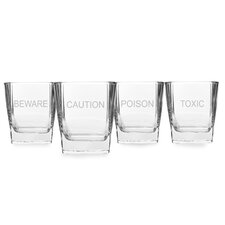 4 Piece Howlin Purrfection Rock 10.5 oz. Old Fashioned Glass Set