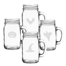 4 Piece Trick or Treat 16 oz. Old Fashioned Drinking Jar Set
