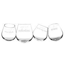 4 Piece 12 oz. Wine Glass Set