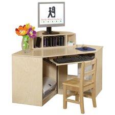 Corner Computer Table with Keyboard Shelf
