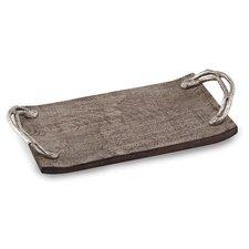 Weathered Wood Handled Rectangular Serving Tray