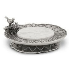 Trellis Pedestal Server Chip and Dip Tray with Stone Insert