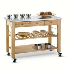 Lambourn Kitchen Cart with Stainless Steel Top