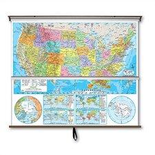 Advanced Political Map Combo - U.S. / World with Backboard