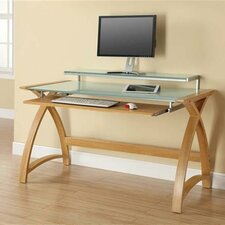 Curve Computer Desk with Keyboard Tray and Monitor Shelf