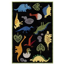 Lil Mo Whimsy Black Dinosaur Kids Area Rug