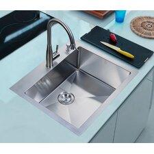 """25"""" x 22"""" Overmount Single Basin Kitchen Sink"""