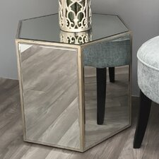 Vintage Mirrored Hexagonal End Table