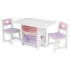 3-tlg. Kindertisch und Stuhl-Set