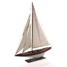 4 Sails Wooden Model Decorative Sailboat