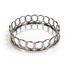 Chain Link Design Round Mirrored Tray