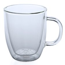 Bistro 15 oz. Glass Coffee Mug (Set of 2)