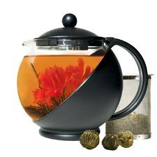 Half Moon 1.25-qt. Glass Teapot and Lid with Stainless Steel Infuser and 3 Green Tea Flower