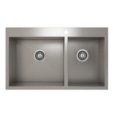 "ProInox 33"" x 20"" Topmount Double Bowl Kitchen Sink"