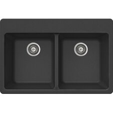 "ProQuartz 33"" x 22"" Topmount Double Bowl Kitchen Sink"