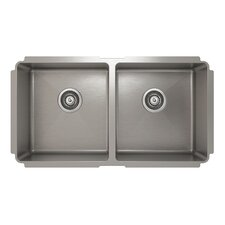 "ProInox 33"" x 18"" Undermount Double Bowl Kitchen Sink"