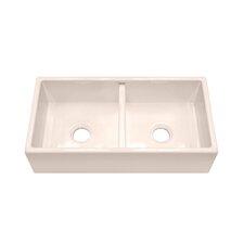 """F110 35.25"""" x 18.25"""" Farmhouse Double Bowl Kitchen Sink"""