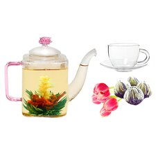 Romeo 0.53-qt. Jasmine Fab Flowering Teapot Set