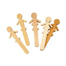 People Shaped Wood Craft 16 Pcs (Set of 2)