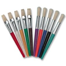 Paint Brushes,Natural Bristles, Round, 10/ST, Assorted