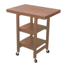 Folding Kitchen Cart with Wood Top