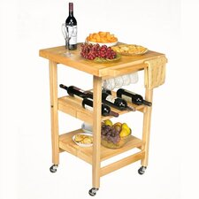 Entertainer Folding Kitchen Cart with Wine Storage