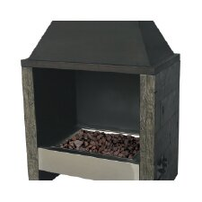 Ocala Wood / Stainless Steel Gas Outdoor Fireplace