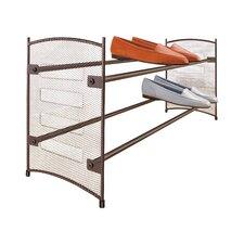 Expandable 2 Tier Stackable Shoe Rack - Steel Mesh Shoe Shelf