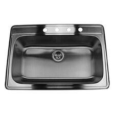 "33"" x 22"" Single Bowl Stainless Steel Kitchen Sink"