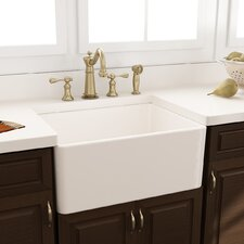 "24"" x 18"" Fireclay Farmhouse Kitchen Sink with Grid and Drain"