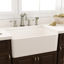 "30.25"" x 18"" Fireclay Farmhouse Kitchen Sink with Grid and Drain"