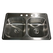 "33"" x 22"" 50/50 Double Bowl Stainless Steel Kitchen Sink"