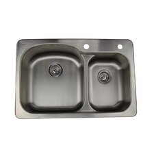 Self Rimming Offset Double Bowl Kitchen Sink in Brushed Satin