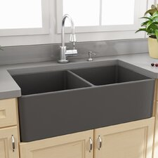 "Fireclay Farmhouse 33.25"" x 18"" Double Bowl Kitchen Sink"