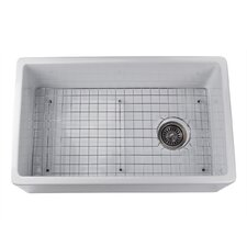 "29.75"" x 18"" Fireclay Farmhouse Kitchen Sink Offset Drain with Grid"