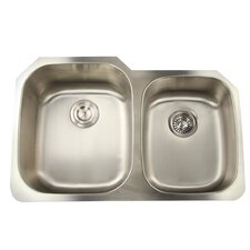 "Falmouth 31.63"" x 20.75"" 16 Gauge Stainless Double Bowl Kitchen Sink"