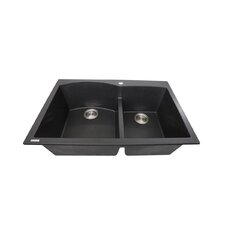 """Plymouth 33"""" x 22"""" Double Bowl Dual Mount Granite Composite Kitchen Sink"""
