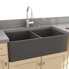 """Fireclay Farmhouse 33.25"""" x 18"""" Double Bowl Kitchen Sink"""