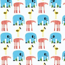 """Marimekko II Karkulaiset 33' x 27"""" Elephants Wallpaper"""