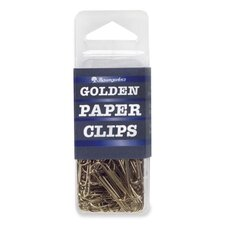 "Standard Paper Clips, 1"", 100 per Pack, Gold (Set of 3)"