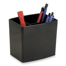 Pencil Holder, Large, 3 Compartmentss, Black