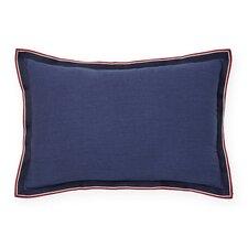 Applique Flange Grosgrain Cotton Lumbar Pillow