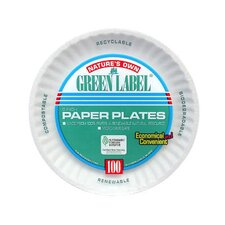 Round Uncoated Paper Plate in White (Pack of 1000)