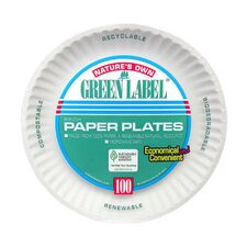 """(100 Per Container) 9"""" Uncoated Paper Plate in White"""